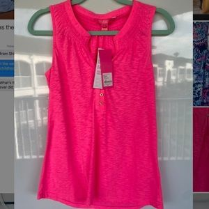 Lilly Pulitzer Essie Top in Pink Tropics, S, NWT